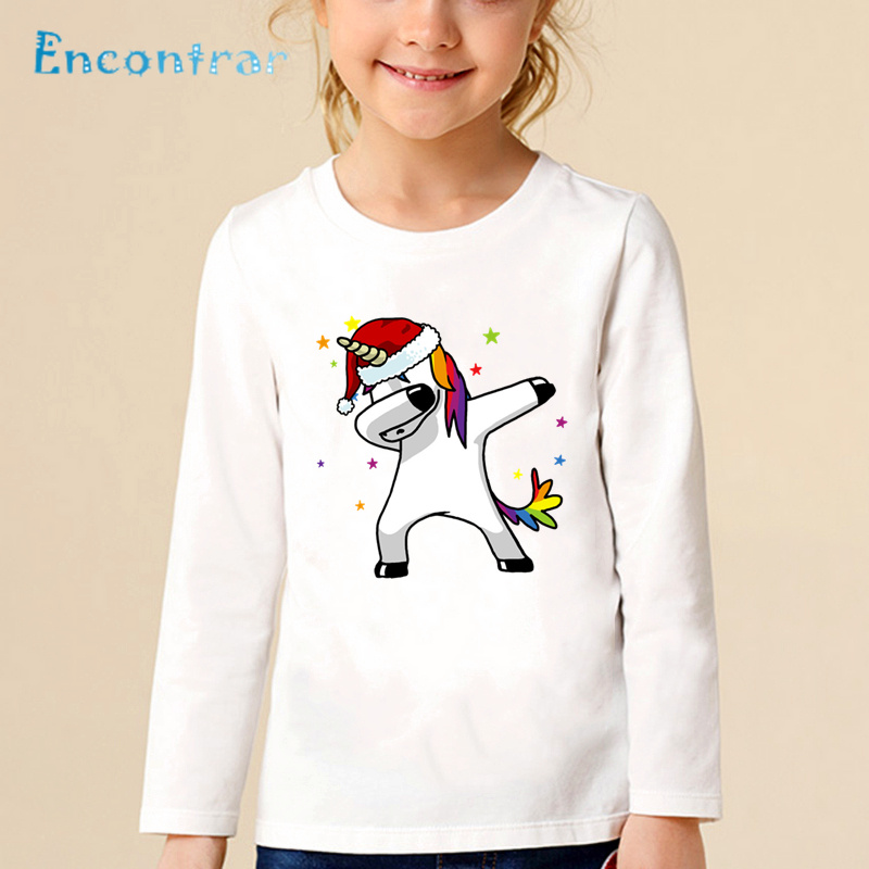 Cheap Price Children Dabbing Unicorn/cat/pug/panda Santa Hat Christmas Print T Shirt Baby Boys Girls Cartoon Tops Kids Funny T-shirt,lkp5242 Distinctive For Its Traditional Properties