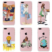 Sexy Modern Lady Girl Soft TPU Phone Case For iPhone 5s 5 6s 6 7 8 Plus X Back Case Cover for 6s 6 Plus Case For iPhone X PC-070