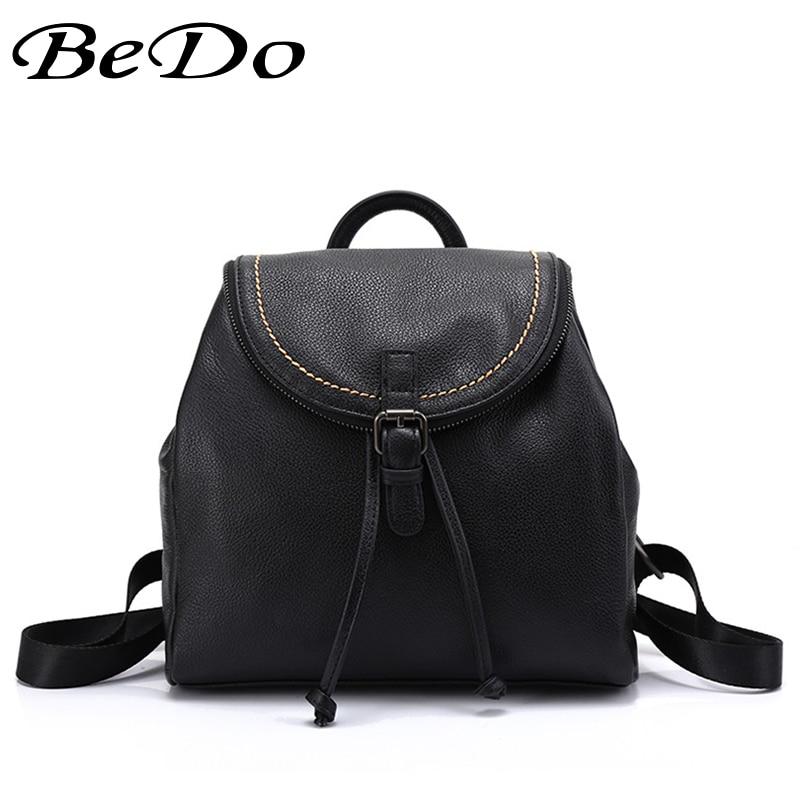 Здесь можно купить  BeDo Women Real Leather Fashion String Backpacks Genuine Leather Fashion Backpacks Silt Pocket Polyester Lining Bags  Камера и Сумки