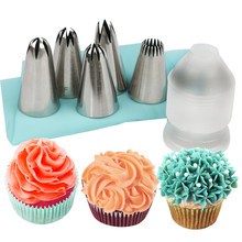7pcs set 2D/2F/1 M/2C/195 rose bloem russische piping nozzlese icing tips met koppeling en siliconen spuitzak set(China)