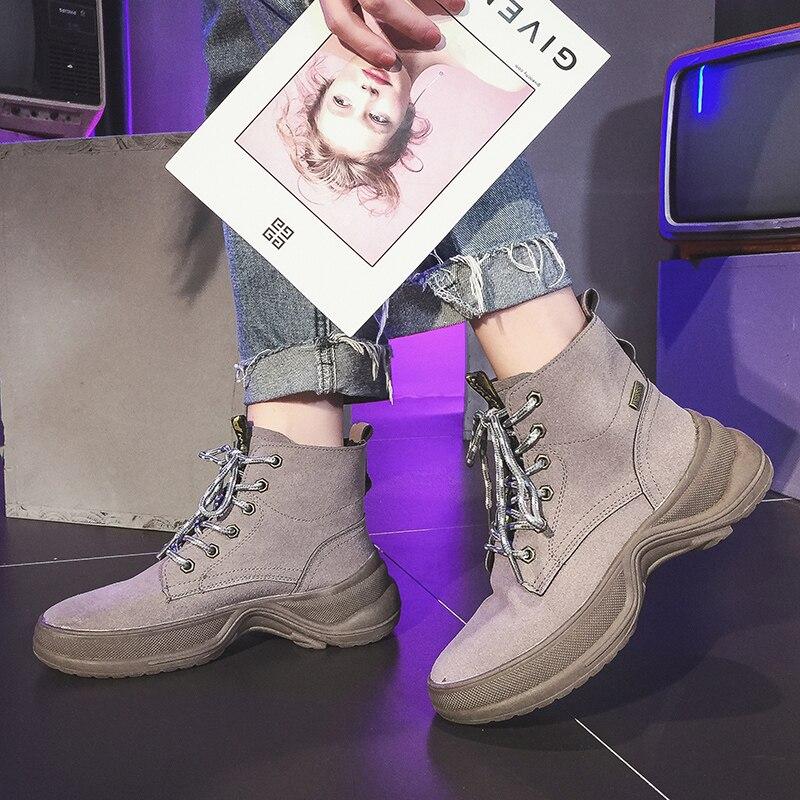 Mujer 2018 Con Alto Para Anchas Botas Cordones Sapato Plataforma Casuales negro Femenino Planas Zapatos Lindas De Tacón Brown pCFYqxHC