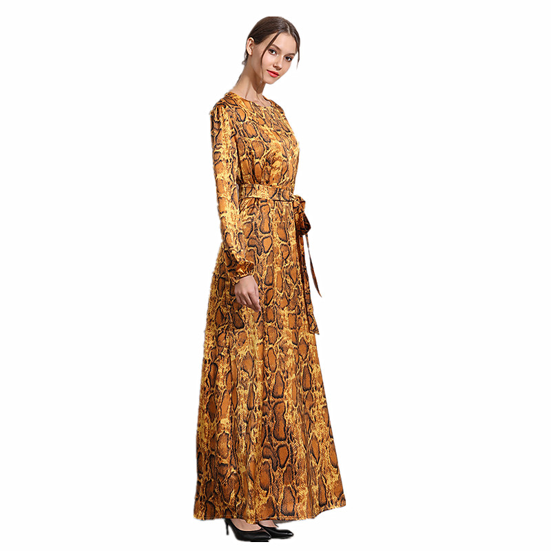 Arab Women's Gorgeous Leopard Dress With Waisband Women Luxury Abayas Muslim Long Sleeve Arabic Dubai Turkish Women Clothing