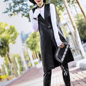 Image 4 - High street Black genuine leather vest real lambskin leather long trench coat veste femme chalecos mujer colete gilet LT1905