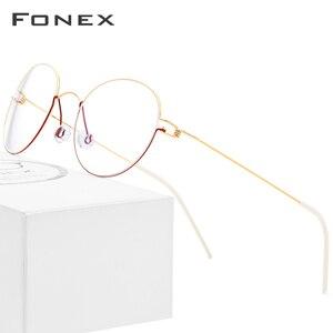 Image 1 - FONEX Titan Legierung Optische Gläser Männer Brillen Rahmen Koreanische Dänemark Frauen Myopie Schraubenlose Brillen 98621