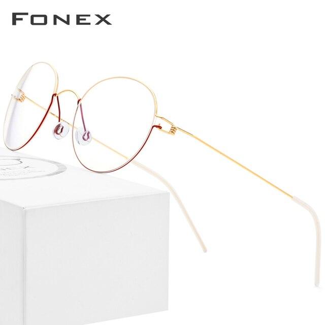 FONEX Titan Legierung Optische Gläser Männer Brillen Rahmen Koreanische Dänemark Frauen Myopie Schraubenlose Brillen 98621