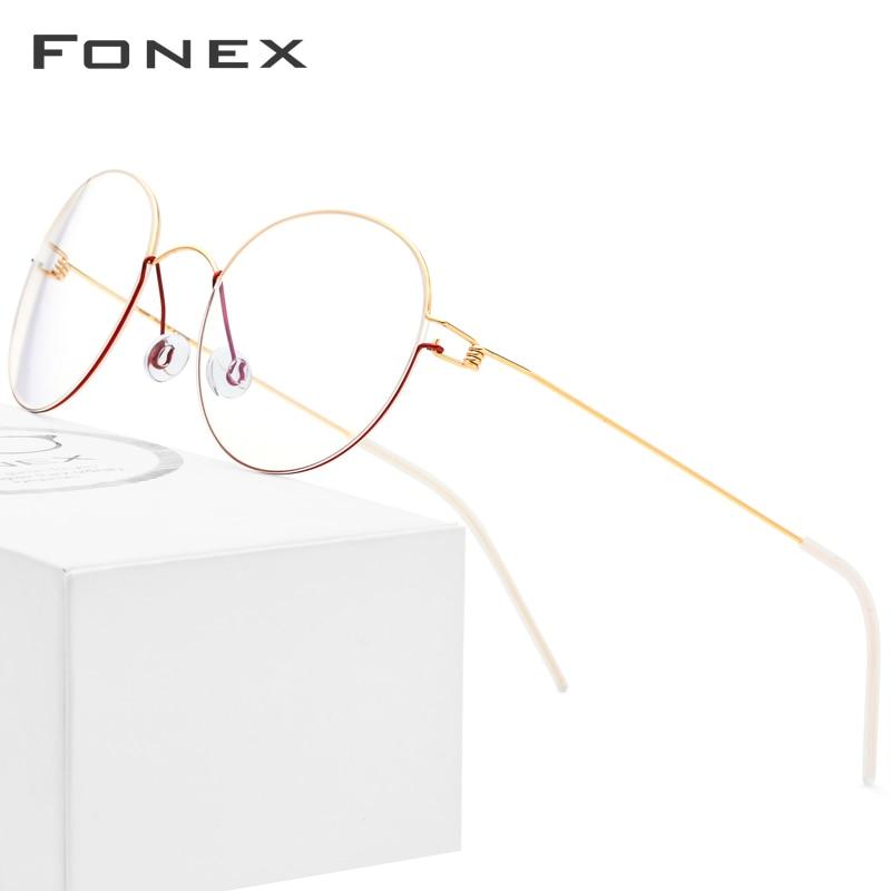 FONEX Titanium Alloy Optical Glasses Men Prescription Eyeglasses Frame Korean Denmark Women Myopia Screwless Eyewear 98621
