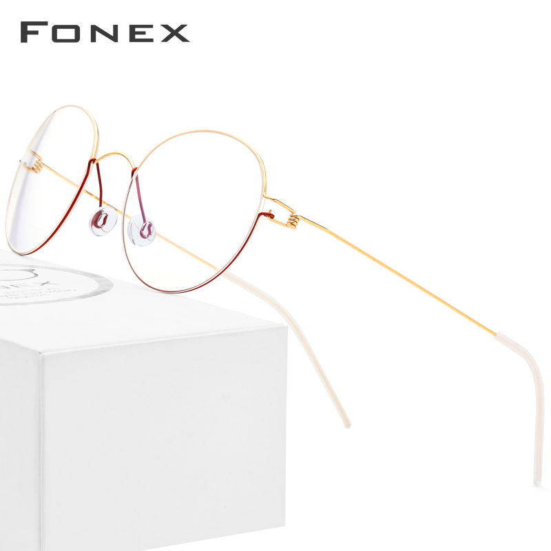 FONEX Titanium Alloy Optical Glasses Men Prescription Eyeglasses Frame Korean Denmark Women Myopia Screwless Eyewear 98621-in Men's Eyewear Frames from Apparel Accessories
