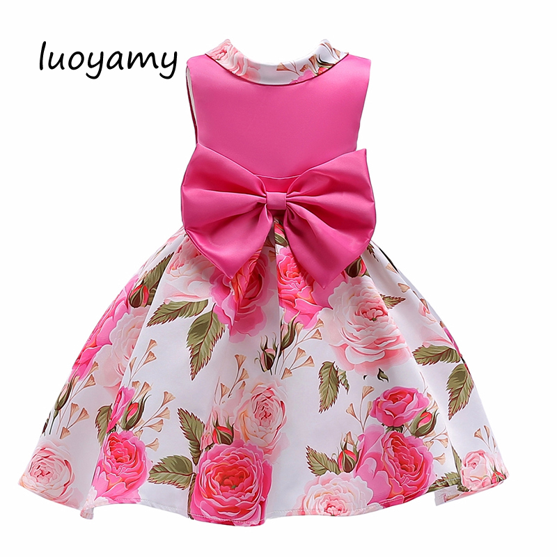 luoyamy 2018 Girl Lovely Bow Sleeveless Princess Flower Robe Dress Pink Floral Printing Dresses Children Party Christmas Clothes acrylic pink lollipop lovely
