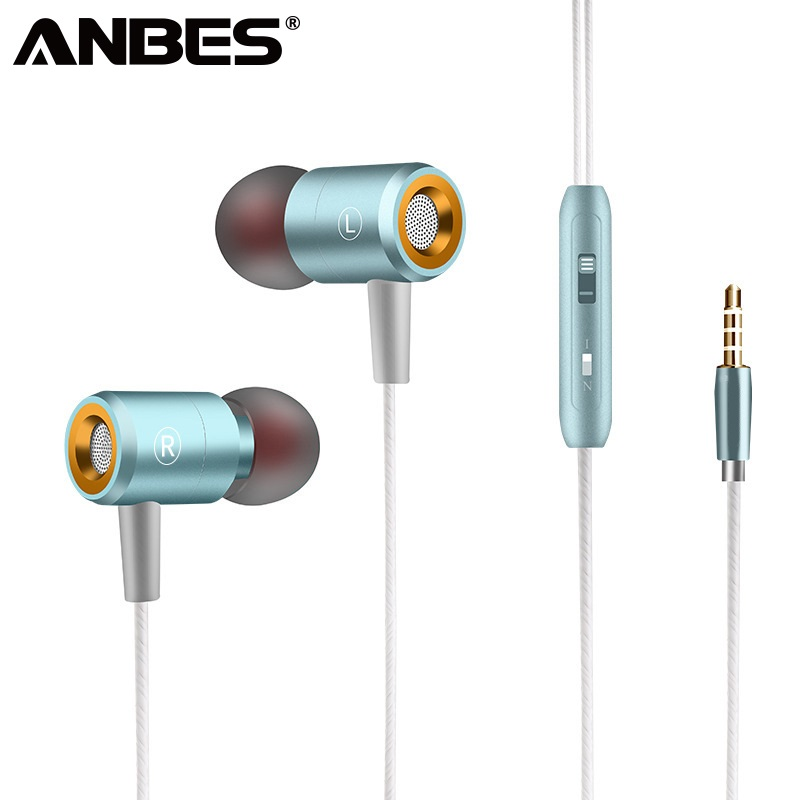 ANBES 3.5mm Wired Earphones HiFi Stereo Bass Earphone Headphones With Microphone For iPhone xiaomi