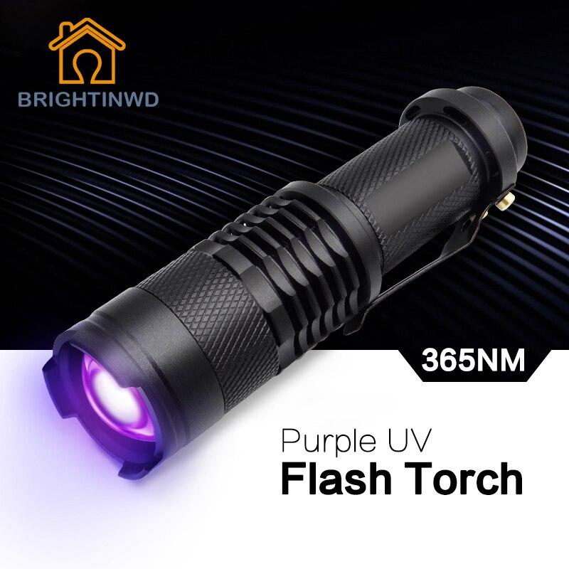 BRIGHTINWD UV Ultra Violet Violet Lumière UV Torche LED lampe de Poche Blacklight Lumière 365 NM D'inspection Lampe Torche