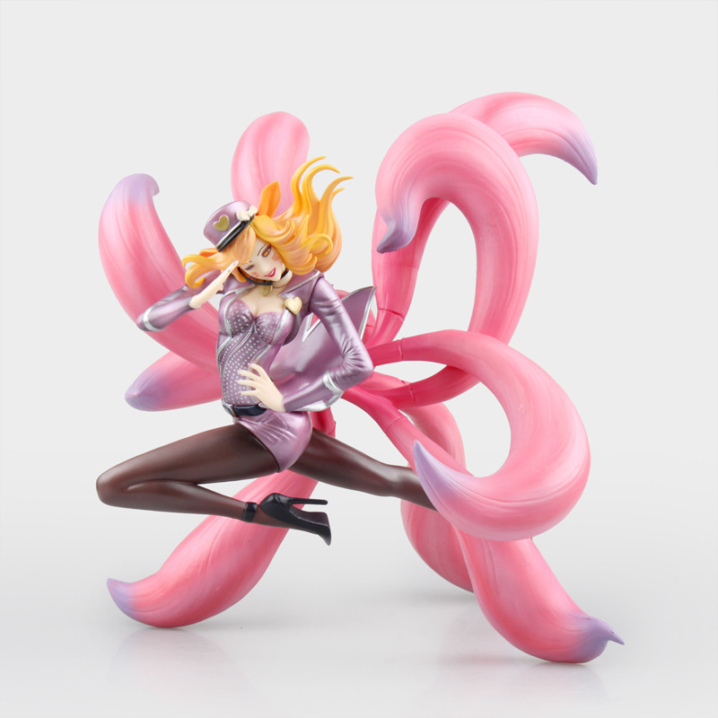Free Shipping 9 Game Ahri - the Nine Tailed Fox Idol Singer Pink Ver. Boxed 23cm PVC Action Figure Collection Model Doll Toy the toy story pink pig hamm action figure toy doll