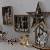 LED Light Wooden pine Cone Reindeer Table Light Home Christmas Decoration Lamp Stars House Design Wall Hanger Christmas Decor