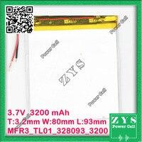 Safety Packing(Level 4) 3.7V 3200mAh battery 328093 Lithium Polymer Battery Li Po li ion For Mp3 DVD Camera GPS PSP