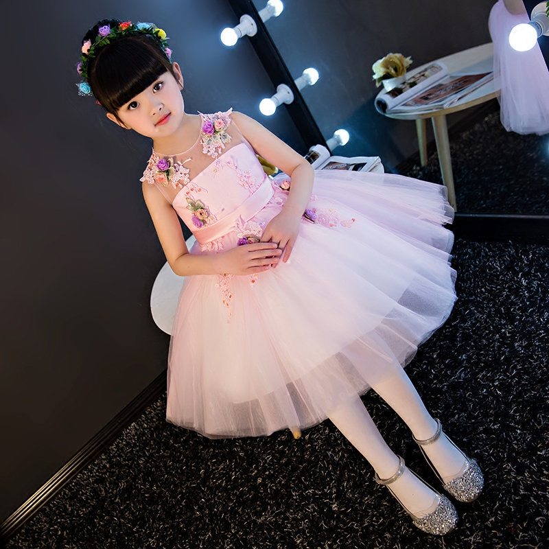 Girls Luxury Sleeveless Pink Lace Princess Dress 2017 New Baby Girls Costume Party Dress Kids Clothes Cotton Children Age 3-15T korean version of the girls winter velvet dress children s lace dress princess dress new child dress age from 3 9t