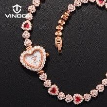 รูปหัวใจหรูหราสตรีนาฬิกาเด็กหญิงM Ontreเต็มออสเตรียคริสตัลสร้อยข้อมือนาฬิกาของขวัญที่ดีที่สุดสำหรับผู้หญิง/ผู้หญิง