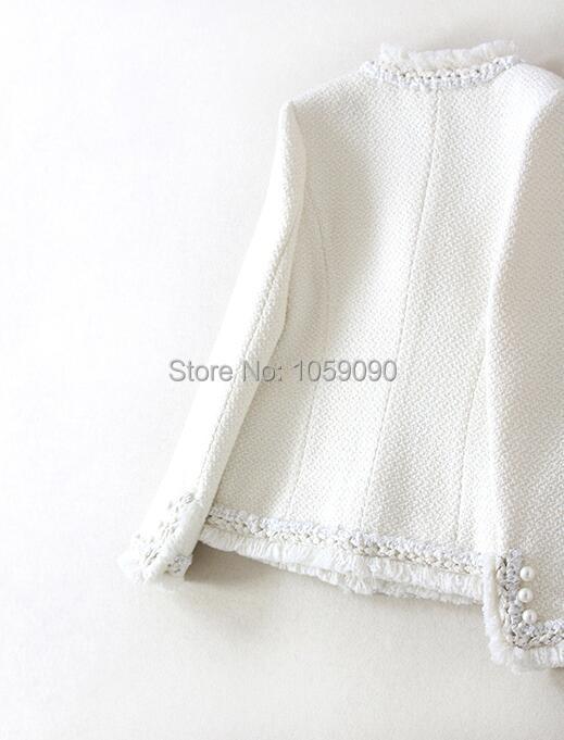 Piste Tweed Perles Manches Longues Design Poches Mode Blanc Latérales Breasted Veste De Ourlet 2018 Avec Classique Franges À Luxe Double Bwd0Hpnxq