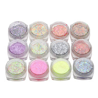 T2N2 Colorful 12 Bottles Glitter Powder Nail Foil Nail Art Transfer Sticker Decals DIY Manicure Body