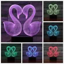 Two Swans Love Heart 3D LED Lamp bedside gece lambasi Lampara RGB Girl Child Kids Baby Birthday Gifts USB Night Light