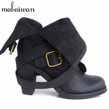 Fashion Genuine Leather Boots Zapatos Mujer Straps Women Mid-calf Botas Mujer Shoes Woman Chunky High Heel Martin Boot