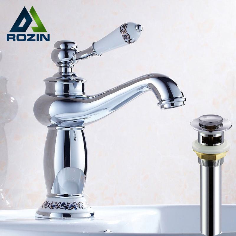 Polished Chrome Bathroom Vanity Sink Faucet Deck Mounted Washing Basin Mixer Tap Brass Overflow Pop Up Drain free shipping new antique brass chinese dragon style bathroom basin waste pop up waste vanity vessel sink drain with overflow