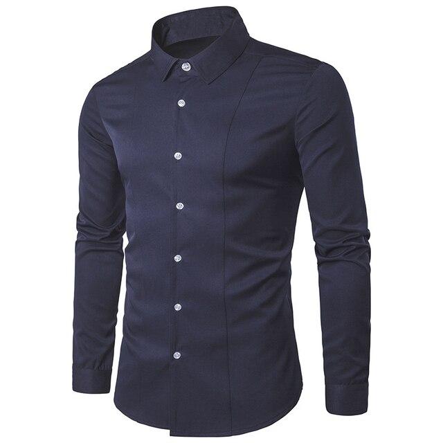 New Fashion Casual Men Shirt Long Sleeve Turn Down Collar Slim Fit Shirt Men Business Tops Mens Dress Shirts Men Clothes S-2XL
