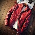 Nueva llegada 2016 otoño e invierno moda hombres pu chaqueta de cuero moto sólida cazadora caliente masculina chaqueta de gran tamaño 5xl