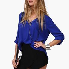 Новый Женщины Шифон Блузка V-образным Вырезом С Длинным Рукавом Случайные Топы Темперамент Твердые Рубашки Плюс Размер