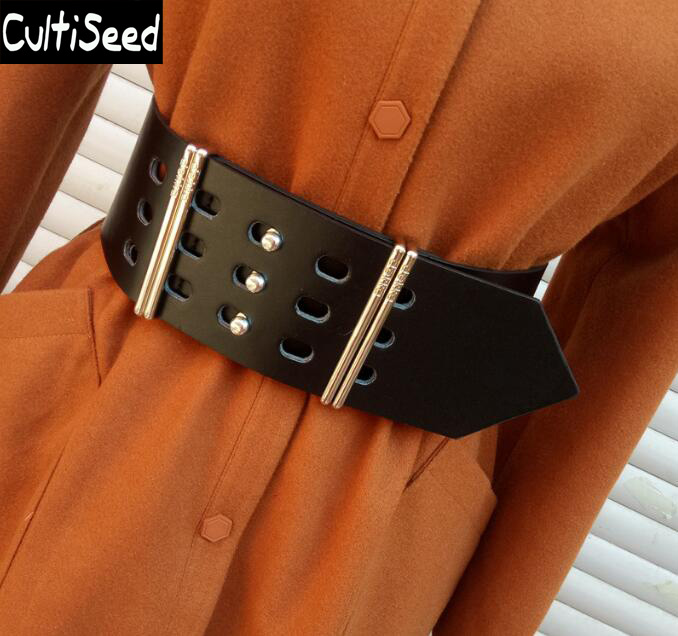 Newest Women Metal Belt Fashion Wide Cummerbunds Lady Metal Decoration Belt