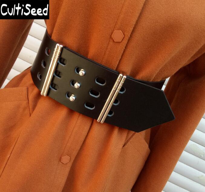 Newest Women Metal Belt Fashion Wide Cummerbunds Lady Metal Decoration Belt