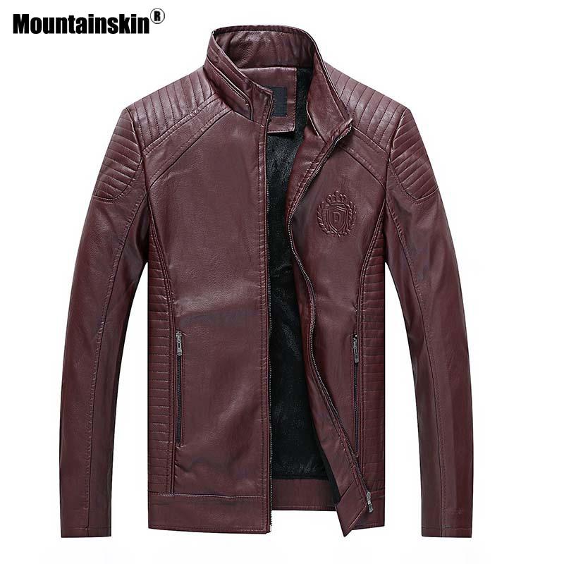 Mountainskin 6XL Hommes En Cuir de Vestes D'hiver Casual Moto Manteaux Homme Slim Fit Épais PU Veste Hommes Marque Vêtements SA563