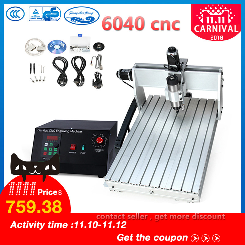 CNC 6040 2.2KW 3 axis CNC router CNC wood carving machine USB Mach3 control Woodworking Milling Engraver Machine with Cooled/Air