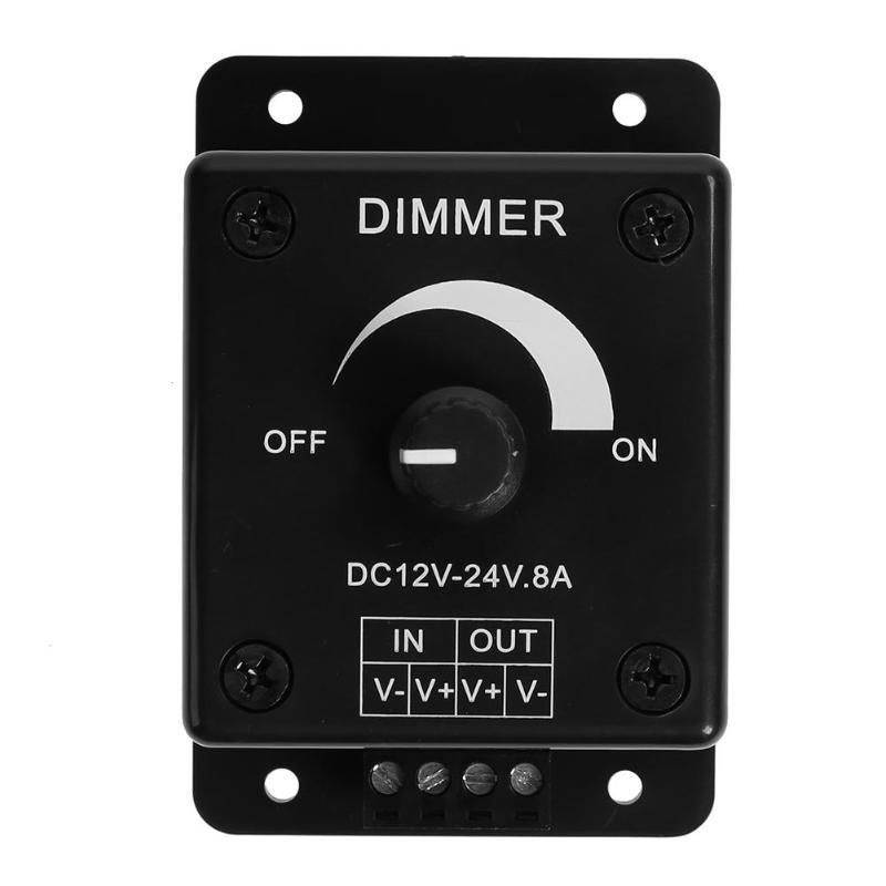 Black Led Dimmer Switch Dc 12v 24v 8a Adjustable Brightness Lamp Bulb Strip Driver Single Color Light Power Supply Controller Professional Design