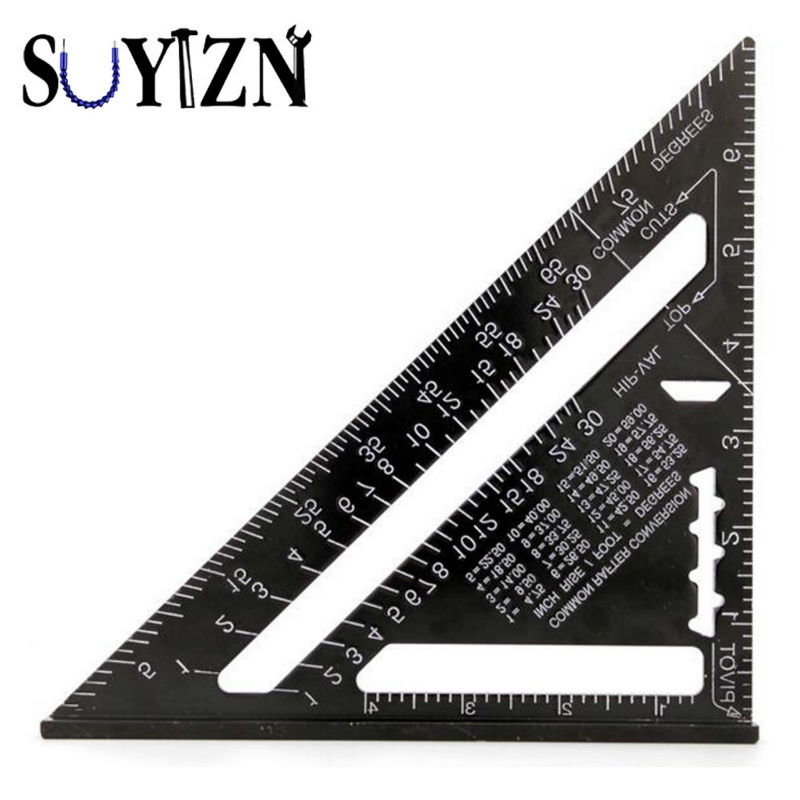 7inch Metric System Silver Black Aluminum Alloy Speed Square Roofing  Triangle Angle Protractor Carpenteru0027s Measuring Sharpeners