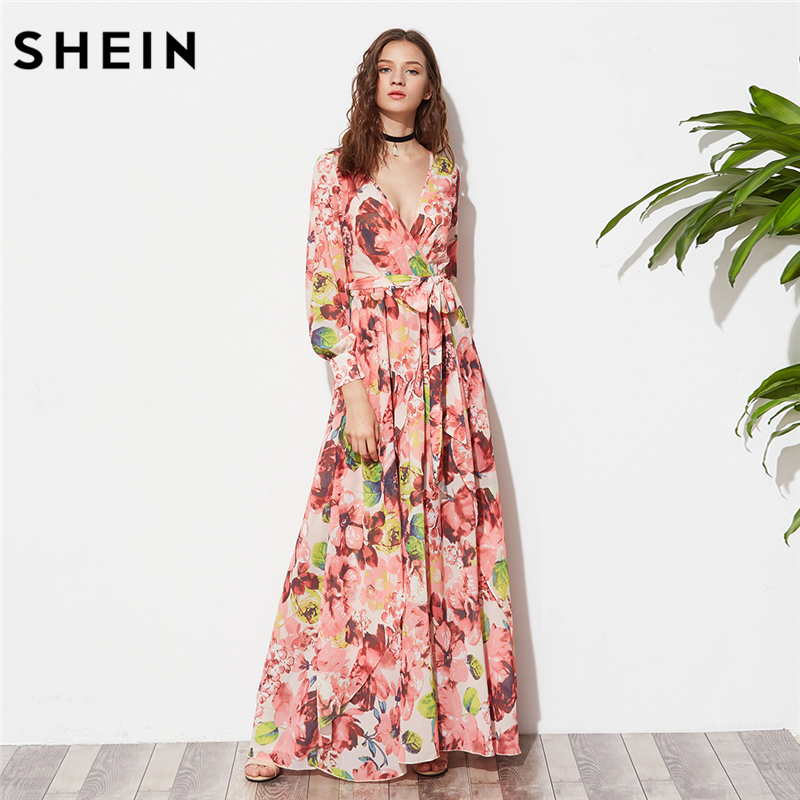 SHEIN Long Sleeve Maxi Dress Women Multicolor Floral Deep V neck Maxi Dress 2017 Women Fashion