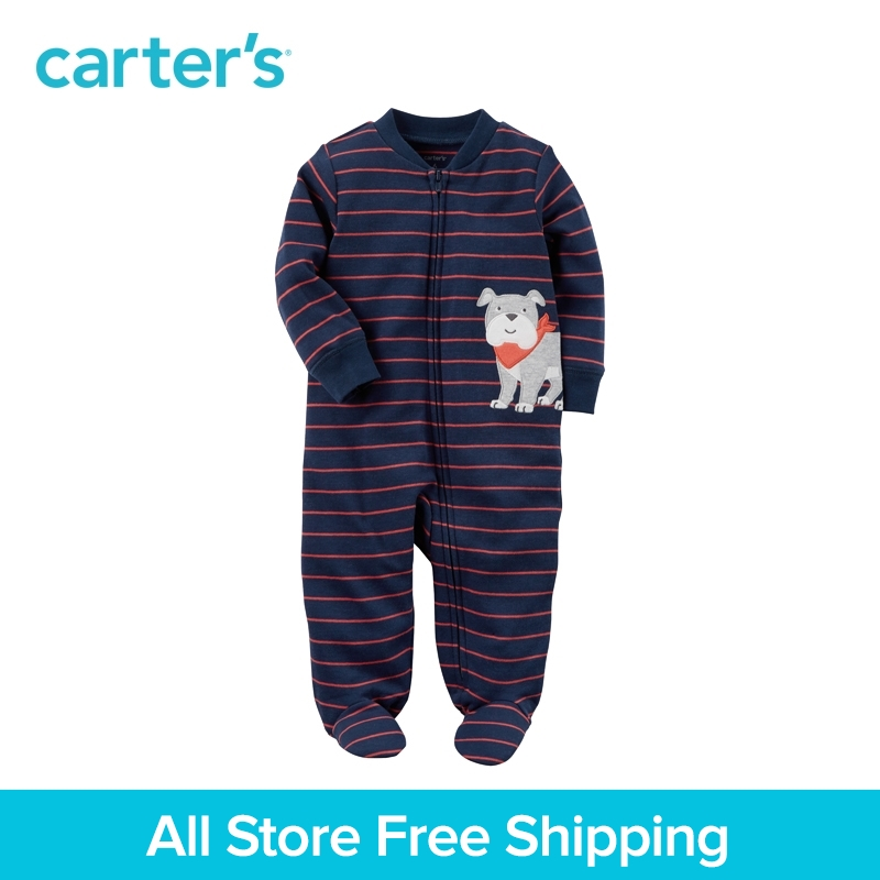 Cute bulldog striped zip-front soft cotton footies one-piece Carter's baby boy clothing fall winter 115G395