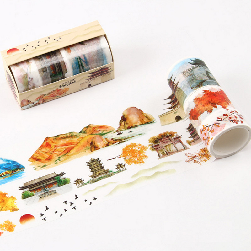 3 Pcs/Lot Retro Building Autumn Scenery Washi Tape DIY Decoration Scrapbooking Planner Masking Tape Adhesive Tape Kawaii