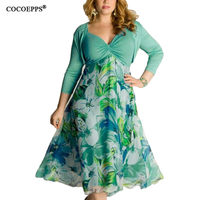 Elegant Plus Size Women Dress 2017 New Floral Print Big Size Summer Clothing 6xl Patchwork Dress