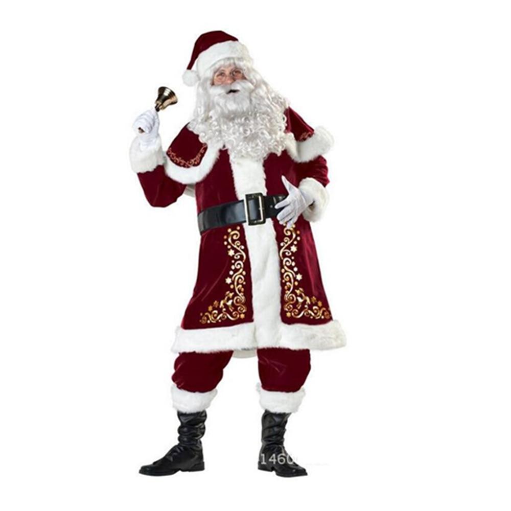 nueva llegada de rubie velvet deluxe mens traje de navidad de santa claus traje adulto x