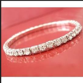 (50pcs/lot) Shiny Wedding Bride Single One Row Inlayed CZ Crystal Rhinestone Women Stretch Elastic Bangle Bracelet free shipping