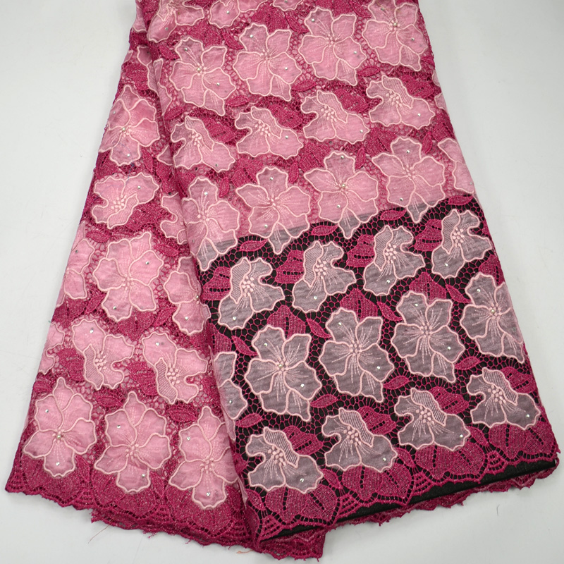 Latest High Quality fUSHIA African Double Organze with Guipure lace  for wedding lace fabrics  Latest High Quality fUSHIA African Double Organze with Guipure lace  for wedding lace fabrics