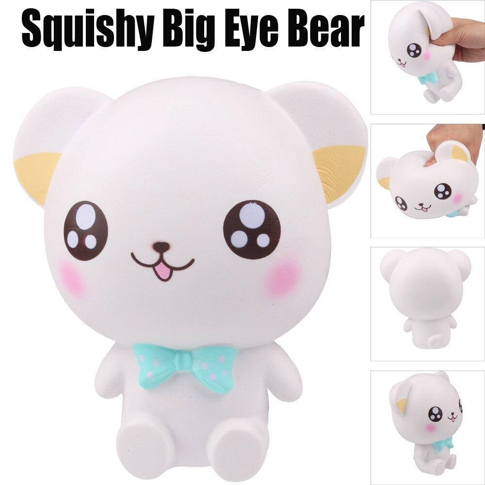 Antistress games mochi Squishy Cartoon Big Eye Bear Slow Rising Squeeze Phone Straps Ballchains Toys reliever stress prank toys