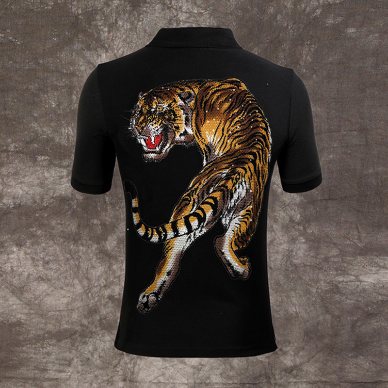 Seestern brand new men's   polos   Bead tiger Lapel   Polo   shirts man autumn short-sleeve embroidery tiger   polo   shirt casual