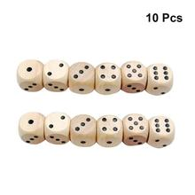10 шт. игральные кости 16 мм шесть сторон прочные Дворовые кубики сито деревянные кости для игровой обучения