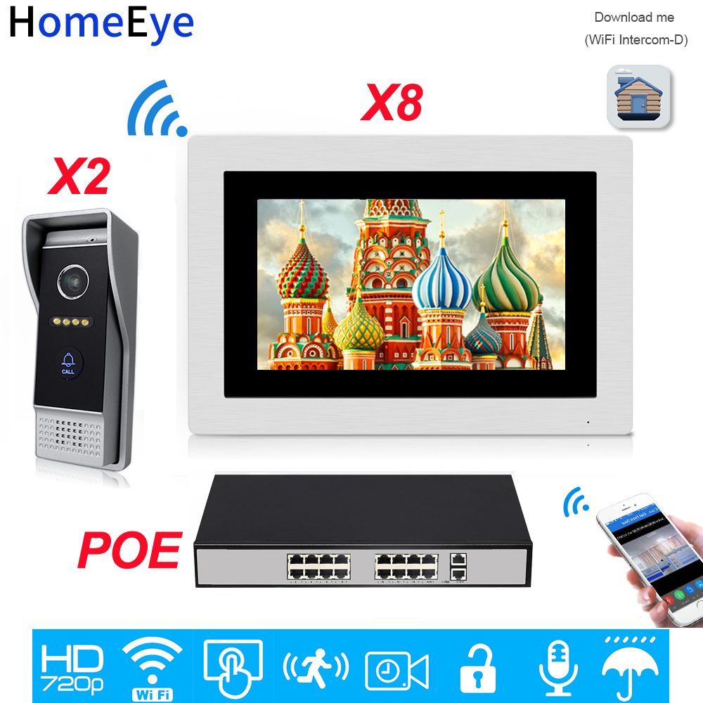 720P WiFi IP Video Door Phone Video Intercom 2 To 8 POE Home Access Control System Android IOS Phone Remote Unlock Touch Screen