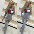 2016 new style! women slim  fitness tracksuit casual letter patchwork Top Elastic Pants Workout Clothes jumpsuit
