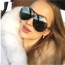 Black Pilot Sunglasses women Men Silver Mirror oversized Metal luxury brand female big Gradient Shades Eyewear UV400
