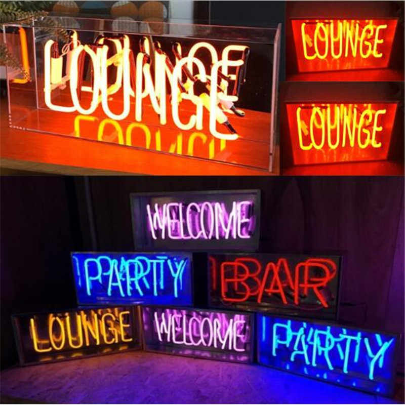 Vintage LOUNGE WELCOME Neon Sign Night Light Real Glass Tube Handcraft Beer Bar Pub Lamp Lighting Recreation Decor AC 220V 230V