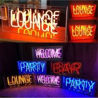 Vintage LOUNGE WELCOME Neon Sign Night Light Real Glass Tube Handcraft Beer Bar Pub Lamp Lighting Recreation Decor AC 220V 230V