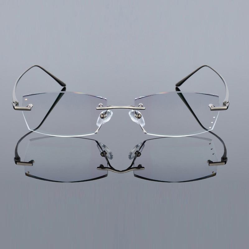 Image 4 - QJ Luxury Rhinestone Reading Glasses Men Diamond Cutting Rimless Glasses High Clear Men's Gray Readers Presbyopic Eye Glasses-in Men's Reading Glasses from Apparel Accessories