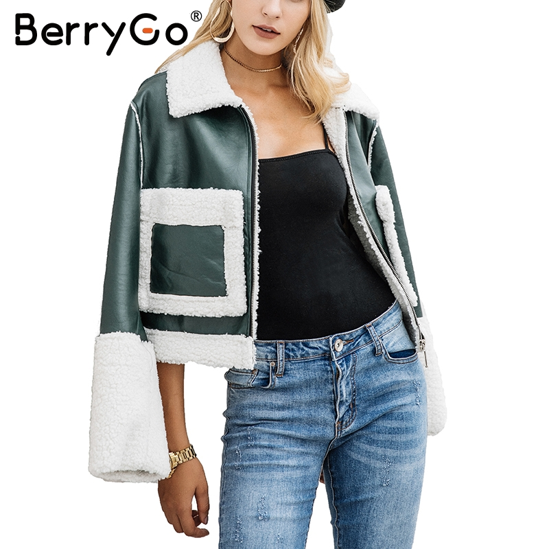 BerryGo Casual lamb fur coats women Turn-down pocket fake fur jacket female furry leather jacket winter 2017 Army green overcoat